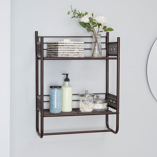 North Oaks Magnolia Bathroom Collection Wall Shelf, Oil Rubbed Bronze