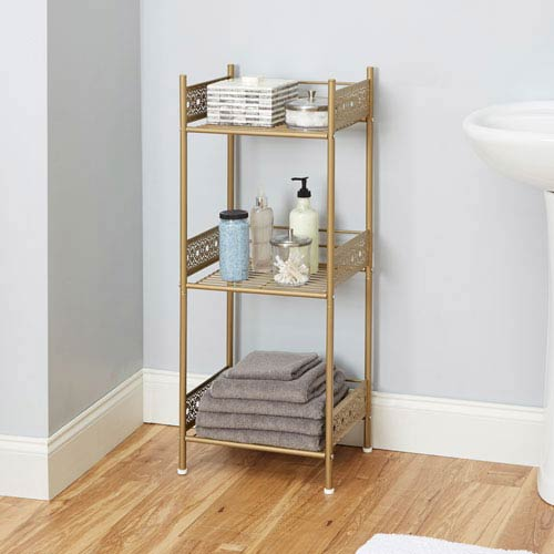 Magnolia Bathroom Collection Floor Shelf, Gold