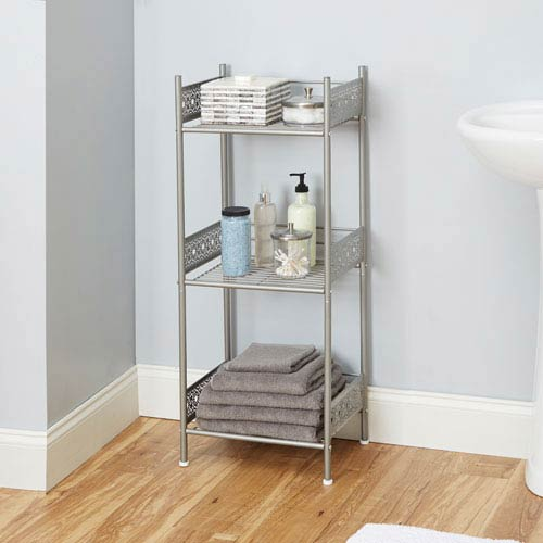 North Oaks Magnolia Bathroom Collection Floor Shelf, Nickel