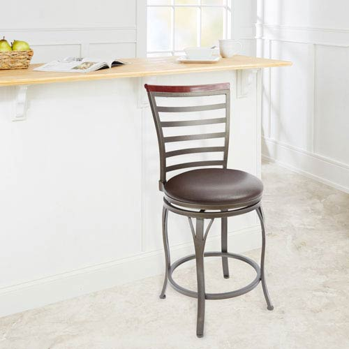 24-inch Ladder Back Swivel Barstool with Curved Legs, Espresso Cushion