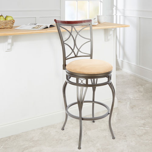 29-inch Decorative Back Swivel Barstool with Curved Legs, Tan Cushion