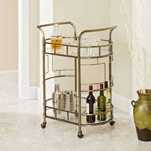 Aspen Two Tier Serving Cart in Antique Gold