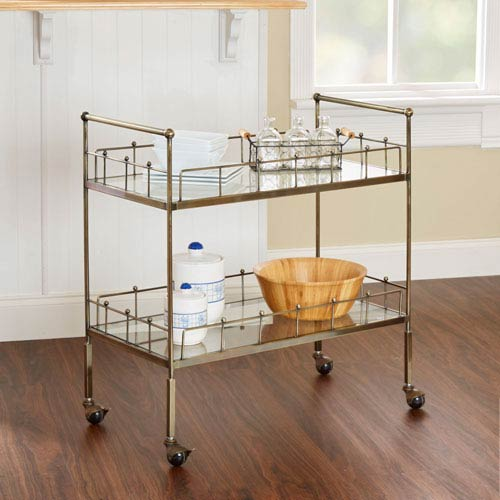 Locust Two Tier Rectangular Serving Cart in Antique Gold