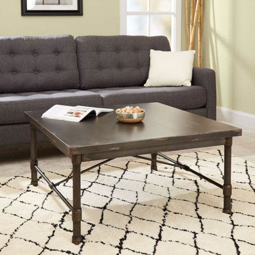 North Oaks Olivia Industrial Collection Square Coffee Table