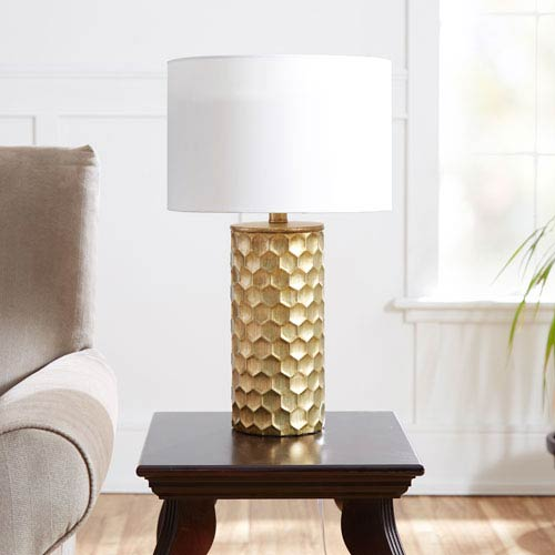 Hive Flourescent Gilded Table Lamp with Shade
