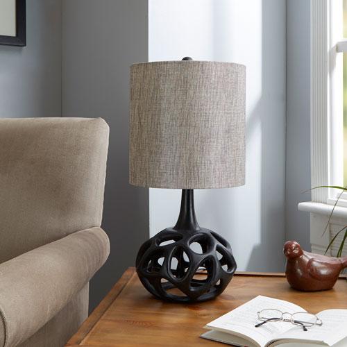 North Oaks Clove Flourescent Table Lamp with Shade, Black