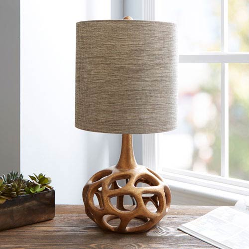 Clove Flourescent Table Lamp with Shade, Gold