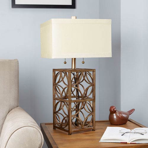 Arden Two-Pull Flourescent Table Lamp with Shade