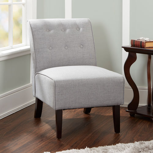 North Oaks Samantha Tufted Accent Chair with Sleigh Back in Light Grey