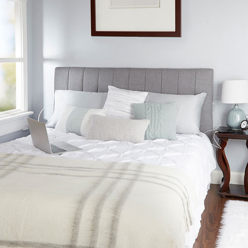 North Oaks Delilah Channel Tufted Powered Headboard in Light Grey, King