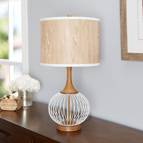 Felix 18-Inch White Table Lamp with Metal Cage