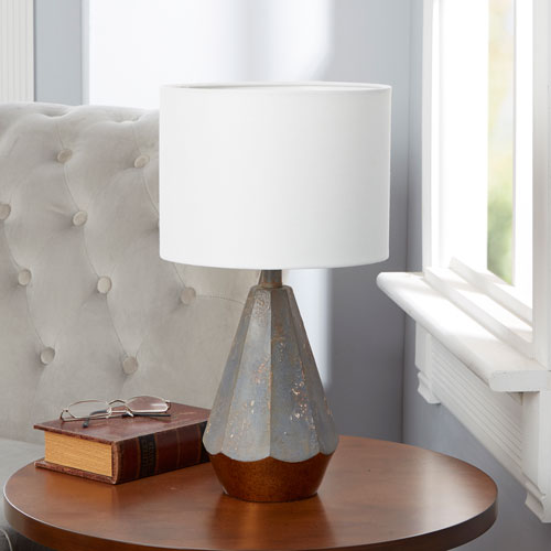 Rustic Prism 14-Inch Table Lamp with Gold Accent