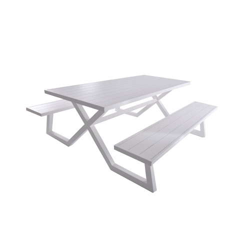 Vivere Banquet Deluxe 8-Seat White Aluminum Picnic Table