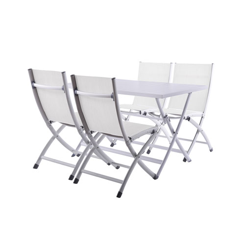 Vivere Brunch 5 Piece White Folding Table and Bachelor Chairs Set