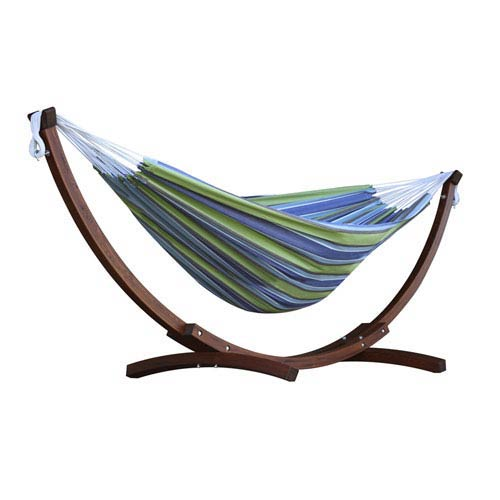 Vivere Double Cotton Hammock with Solid Pine Arc Stand  - Oasis (8ft)  (FSC Certified)