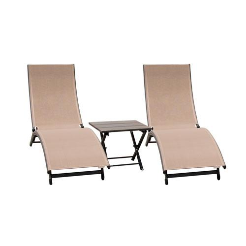 Vivere Coral Springs 3 Piece Macchiato Lounger Set