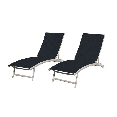 Vivere Clearwater 6 position Navy Aluminum Lounger with Wheel- Set of 2