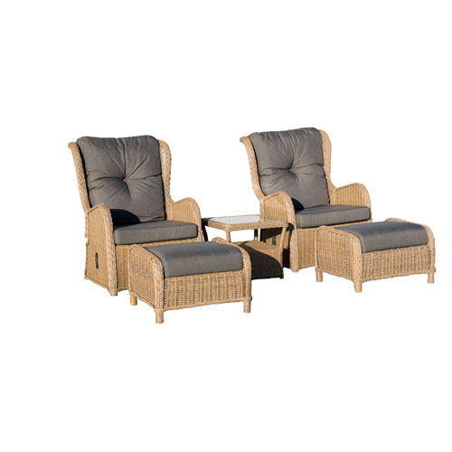 Southampton Dark Grey 5 Piece Rattan Sofa Conversation Set