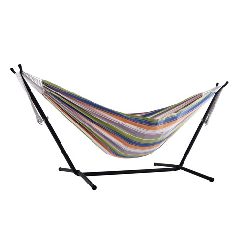 Vivere Viveres Combo - Double Retro 9-Foot Hammock with Stand