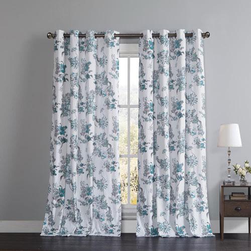 Alice Aqua Blue 84 x 52 In. Grommet Curtain Panel Pair