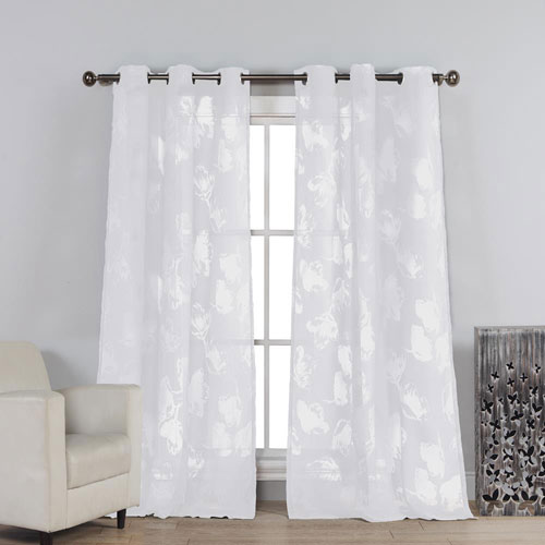 Aster White Burnout 84 x 54 In. Grommet Curtain Panel