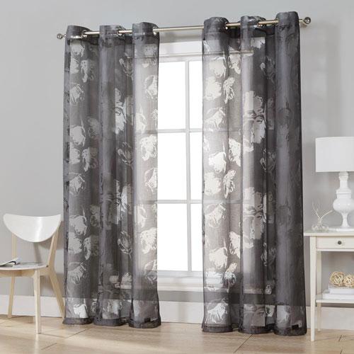 Kensie Home Aster Charcoal Burnout 84 x 54 In. Grommet Curtain Panel Pair