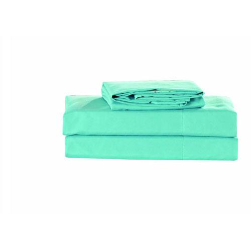 Kensie Home Carson Aqua Haze Queen Solid Sheet Set