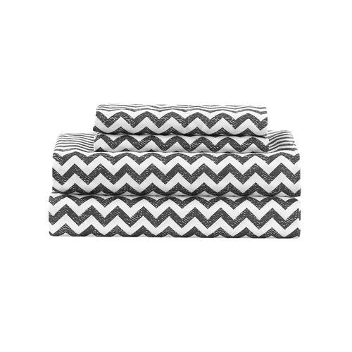 Casey Grey Chevron Twin Four-Piece Sheet Set