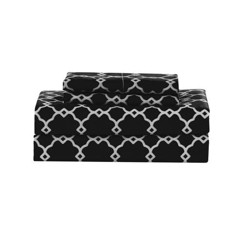 Calvin Geometric Black Twin Four-Piece Sheet Set