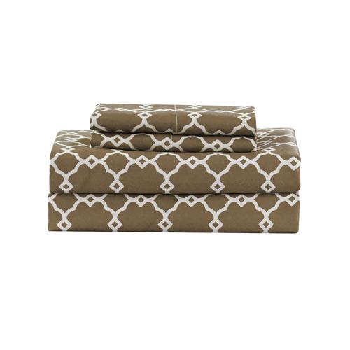Kensie Home Calvin Geometric Taupe Twin Four-Piece Sheet Set