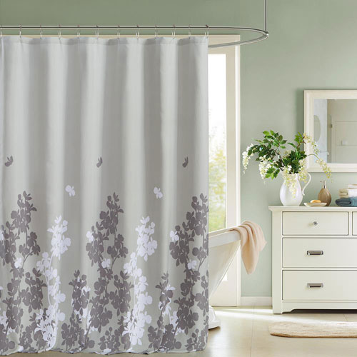 Kensie Home Ellamay Grey Satin Look Shower Curtain