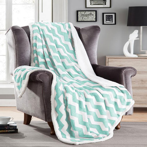 Kensie Home Fofo Light Blue Sherpa Throw