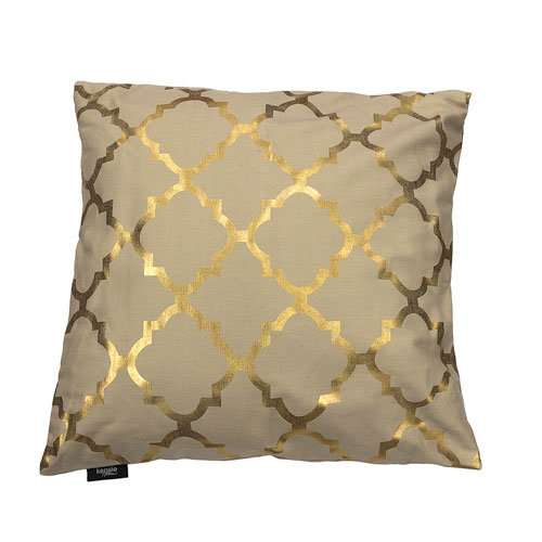 Kensie Home Holly Linen and Gold 20 In. Metallic Lattice Throw Pillow Shell