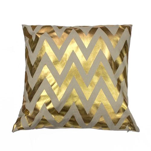 Jamie Gold Metallic Chevron 20 In. Throw Pillow Shell