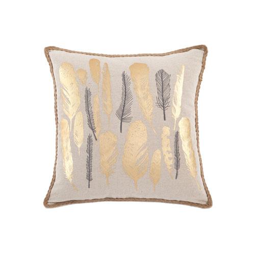 Nova Linen Feather Gold Metallic Throw Pillow Shell