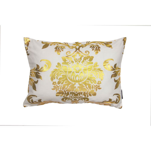 Oliver White and Gold Metallic Victorian 20 In. Throw Pillow