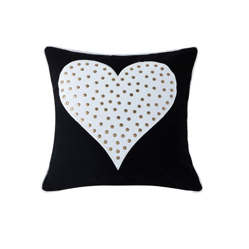 Kensie Home Stellah White and Black Heart Studded 18 In. Throw Pillow Shell