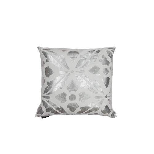Vendela White and Silver Metallic 20 In. Throw Pillow Shell