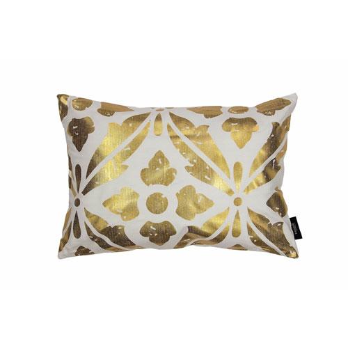 Vendela White and Gold Metallic 14 x 20 In. Throw Pillow Shell