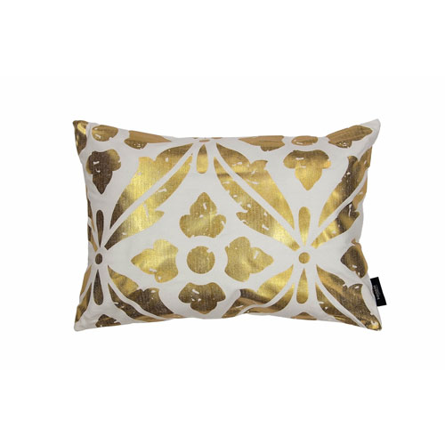 Vendela Holly Gold and Black 19 In. Throw Pillow