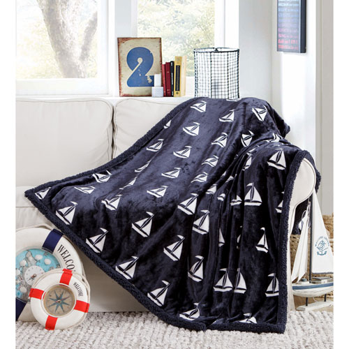 Coleman Sherpa Navy Throw