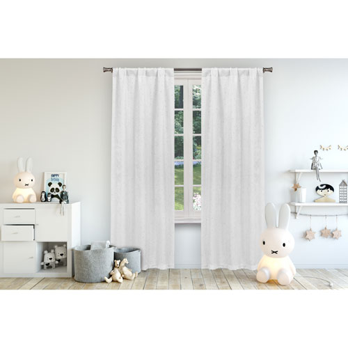 Lala + Bash Home Danielle White 84 x 38 In. Blackout Curtain Panel Pair