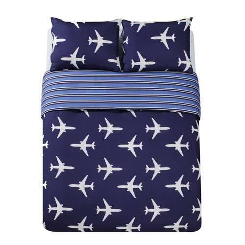 Lala + Bash Home Fly Airplane Blue Twin Two-Piece Duvet Set