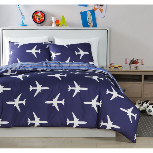 Fly Airplane Blue Twin Two-Piece Comforter Set