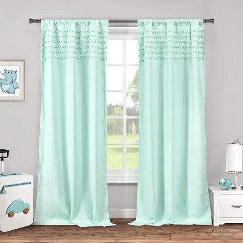 Lala + Bash Home Lizbett Pompom Seafoam 84 x 38 In. Curtain Panel Pair