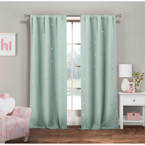 Rebeccah Metallic Seafoam and Silver 84 x 37 In. Room Darkening Curtain Panel Pair