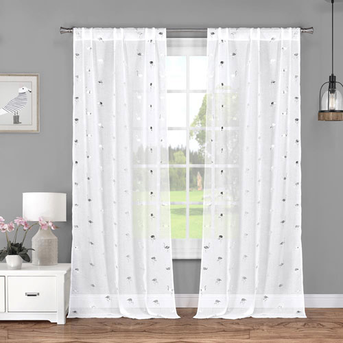 Sandie Metallic White and Silver 84 x 37 In. Curtain Panel Pair