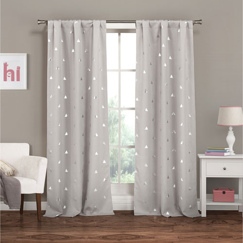 Trina Metallic Light Grey 84 x 37 In. Blackout Curtain Panel Pair