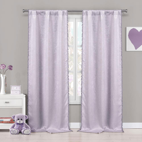 Tucker Lavender Pompom 84 x 37 In. Blackout Curtain Panel Pair