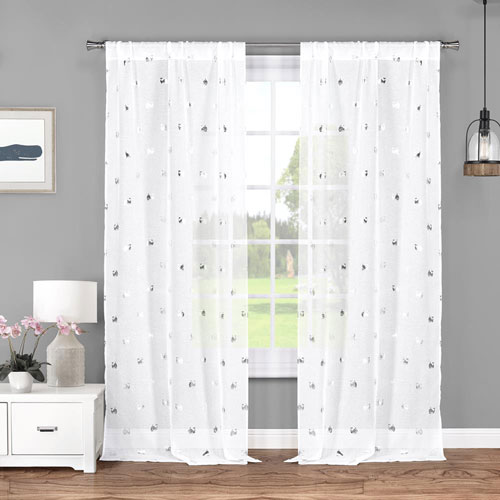 Wally Metallic White and Silver 84 x 37 In. Curtain Panel Pair
